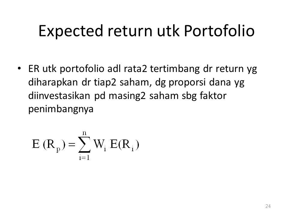 Expected return utk Portofolio ER utk portofolio adl rata2 tertimbang dr return yg diharapkan dr tiap2 saham, dg proporsi dana yg diinvestasikan pd ma