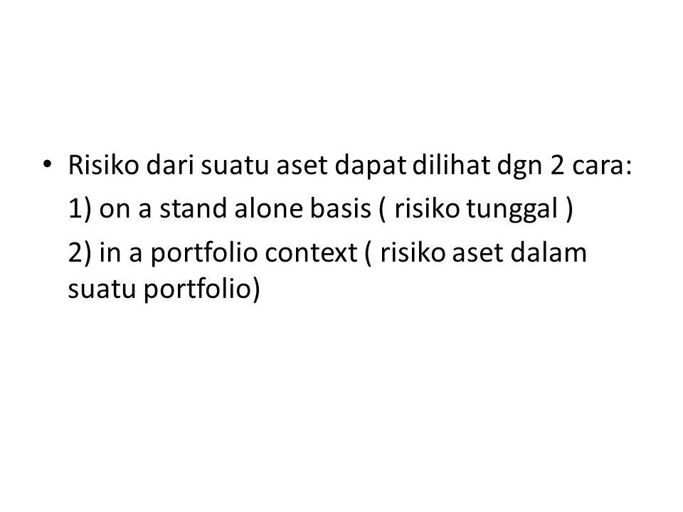 Risiko dari suatu aset dapat dilihat dgn 2 cara: 1) on a stand alone basis ( risiko tunggal ) 2) in a portfolio context ( risiko aset dalam suatu port