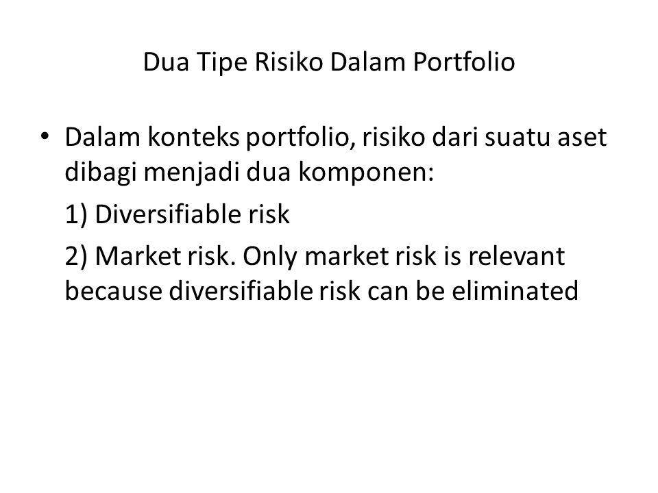 Dua Tipe Risiko Dalam Portfolio Dalam konteks portfolio, risiko dari suatu aset dibagi menjadi dua komponen: 1) Diversifiable risk 2) Market risk. Onl