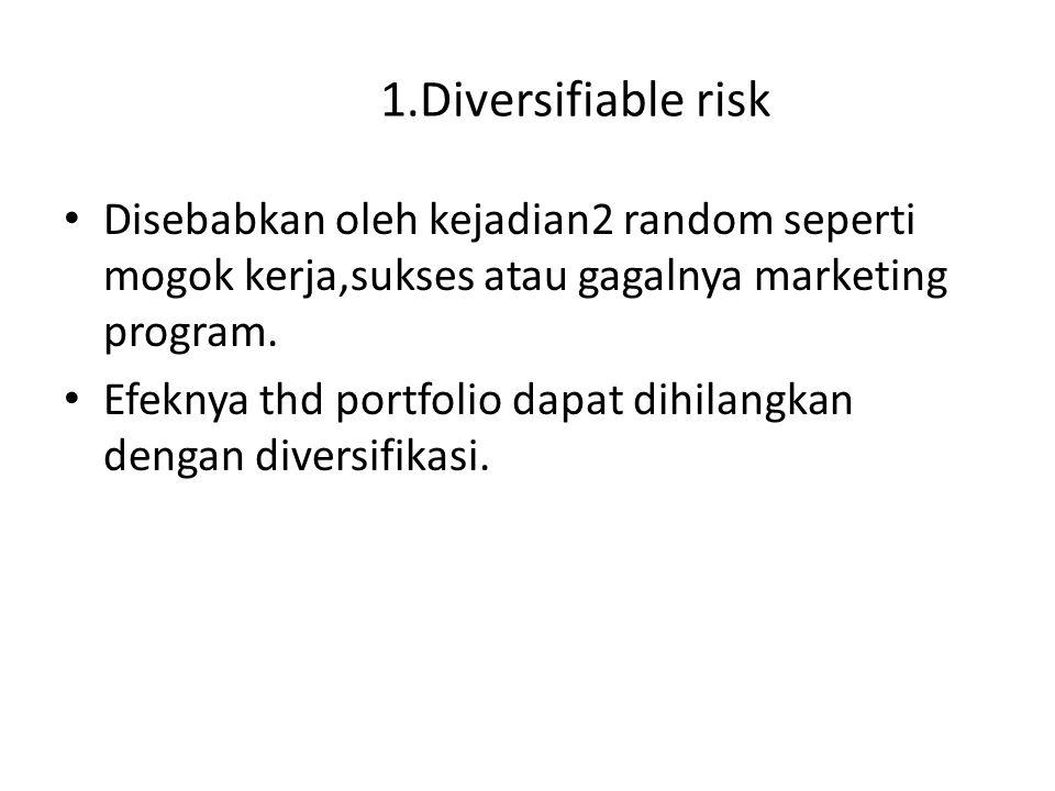 1.Diversifiable risk Disebabkan oleh kejadian2 random seperti mogok kerja,sukses atau gagalnya marketing program. Efeknya thd portfolio dapat dihilang