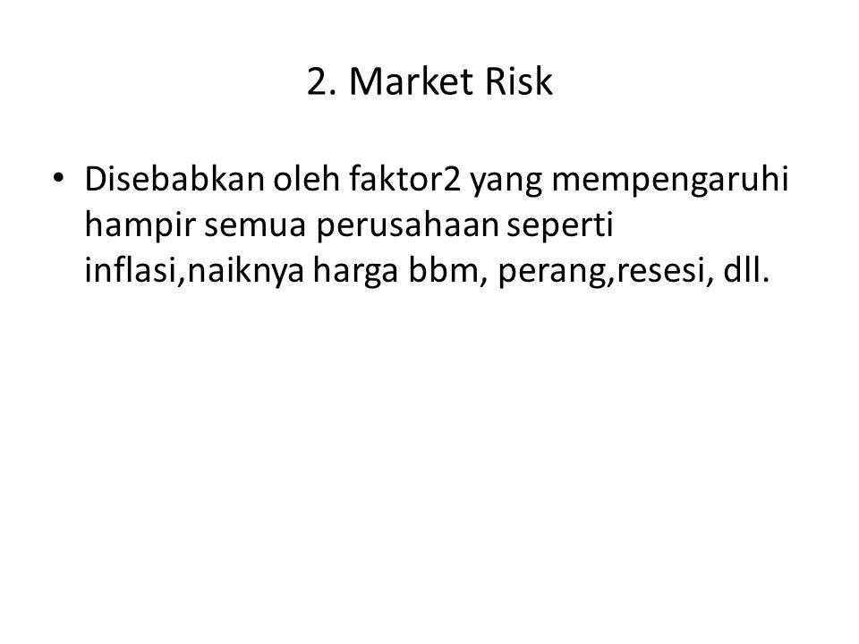 2. Market Risk Disebabkan oleh faktor2 yang mempengaruhi hampir semua perusahaan seperti inflasi,naiknya harga bbm, perang,resesi, dll.