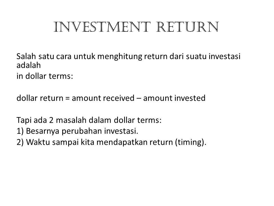 INVESTMENT RETURN Salah satu cara untuk menghitung return dari suatu investasi adalah in dollar terms: dollar return = amount received – amount invest