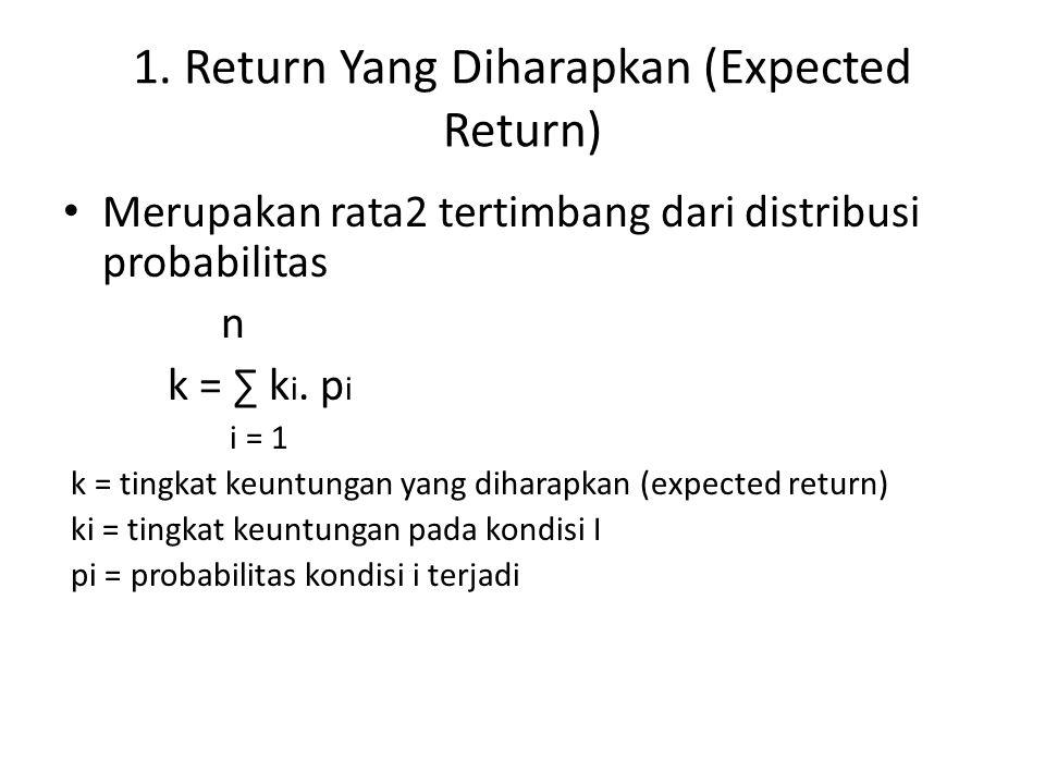1. Return Yang Diharapkan (Expected Return) Merupakan rata2 tertimbang dari distribusi probabilitas n k = ∑ k i. p i i = 1 k = tingkat keuntungan yang