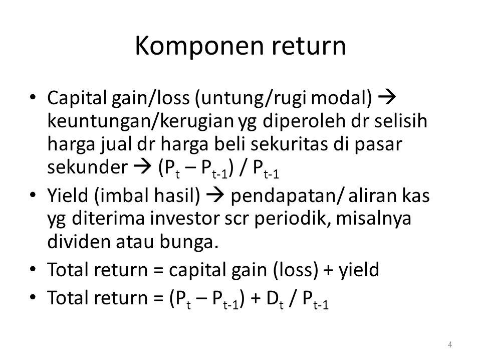 DEFINISI Return adalah keuntungan atau aliran kas bersih yang diperoleh dari suatu investasi Risiko adalah kemungkinan bahwa return sesungguhnya dari suatu investasi akan tidak sesuai dari return yg diharapkan Risiko menunjukkan variabilitas return dari yang diharapkan sehingga makin bervariasi return, makin tinggi pula risiko dari suatu aset.