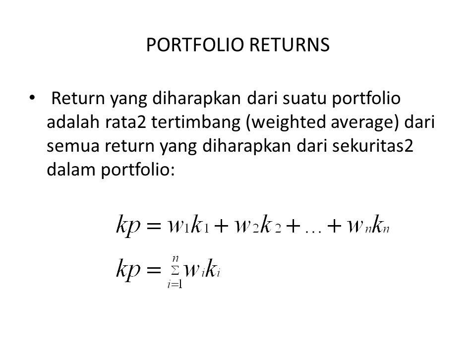 PORTFOLIO RETURNS Return yang diharapkan dari suatu portfolio adalah rata2 tertimbang (weighted average) dari semua return yang diharapkan dari sekuri