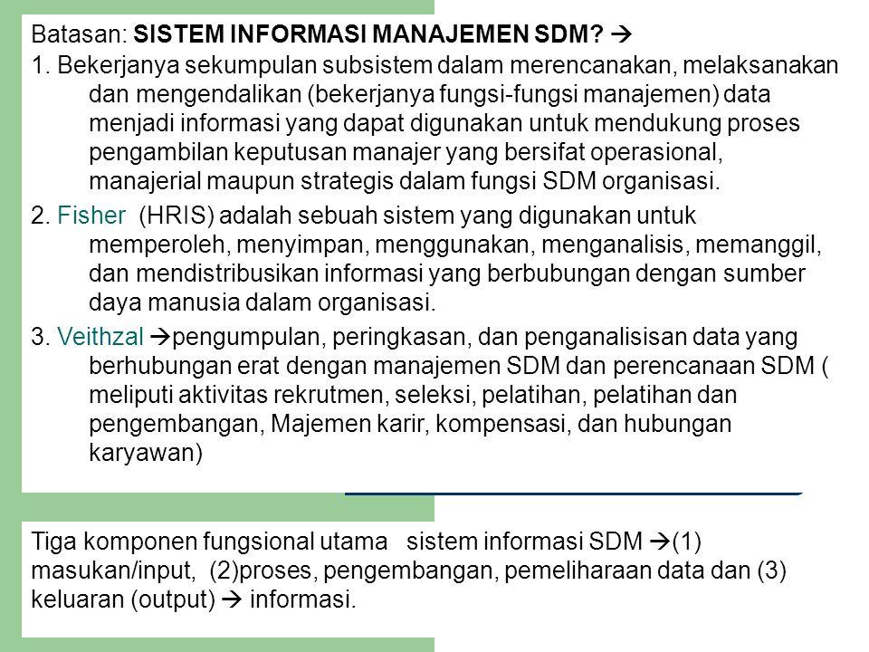 Batasan: SISTEM INFORMASI MANAJEMEN SDM?  1. Bekerjanya sekumpulan subsistem dalam merencanakan, melaksanakan dan mengendalikan (bekerjanya fungsi-fu