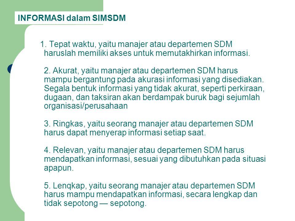 1. Tepat waktu, yaitu manajer atau departemen SDM haruslah memiliki akses untuk memutakhirkan informasi. 2. Akurat, yaitu manajer atau departemen SDM
