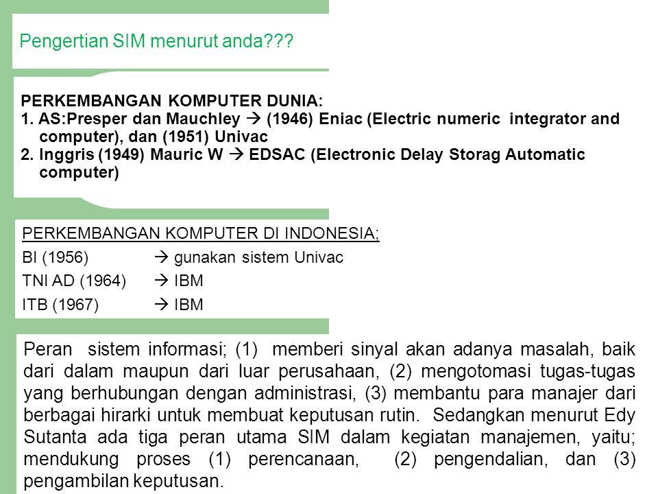 PERKEMBANGAN KOMPUTER DI INDONESIA; BI (1956)  gunakan sistem Univac TNI AD (1964)  IBM ITB (1967)  IBM PERKEMBANGAN KOMPUTER DUNIA: 1. AS:Presper