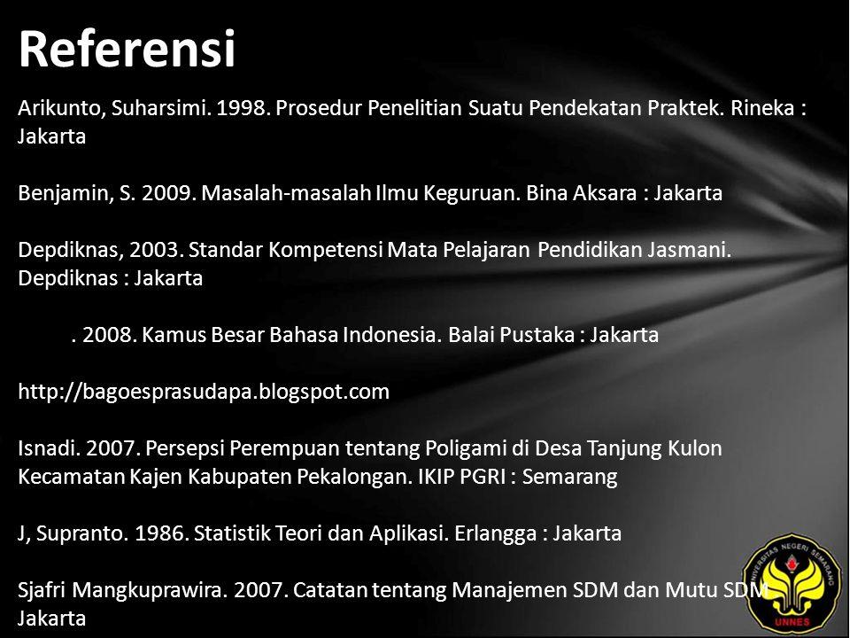 Referensi Arikunto, Suharsimi. 1998. Prosedur Penelitian Suatu Pendekatan Praktek. Rineka : Jakarta Benjamin, S. 2009. Masalah-masalah Ilmu Keguruan.