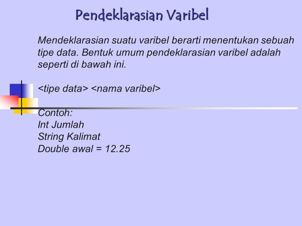 Pendeklarasian Varibel Mendeklarasian suatu varibel berarti menentukan sebuah tipe data.