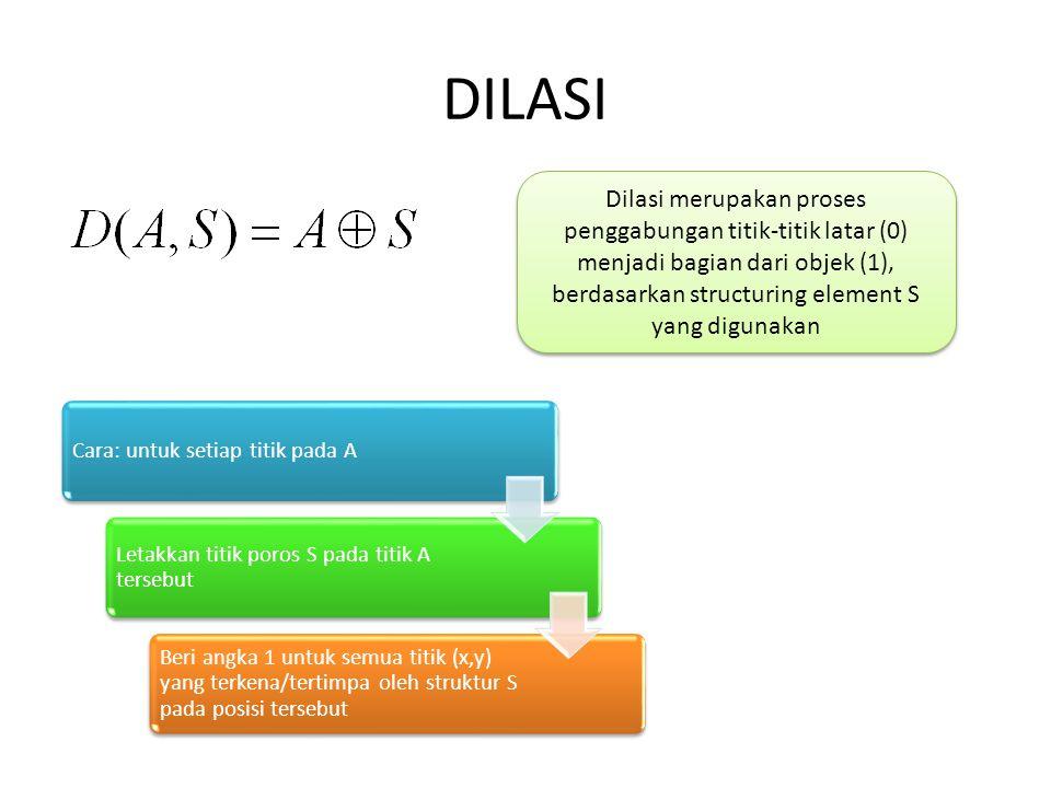 DILASI Dilasi merupakan proses penggabungan titik-titik latar (0) menjadi bagian dari objek (1), berdasarkan structuring element S yang digunakan Cara