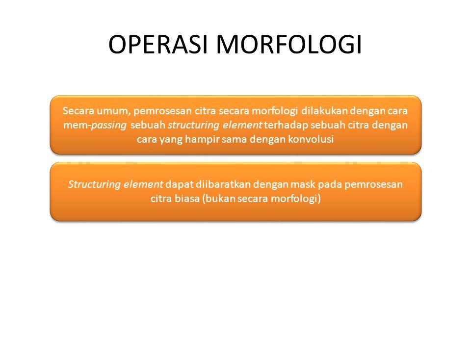 OPERASI MORFOLOGI Secara umum, pemrosesan citra secara morfologi dilakukan dengan cara mem-passing sebuah structuring element terhadap sebuah citra dengan cara yang hampir sama dengan konvolusi Structuring element dapat diibaratkan dengan mask pada pemrosesan citra biasa (bukan secara morfologi)