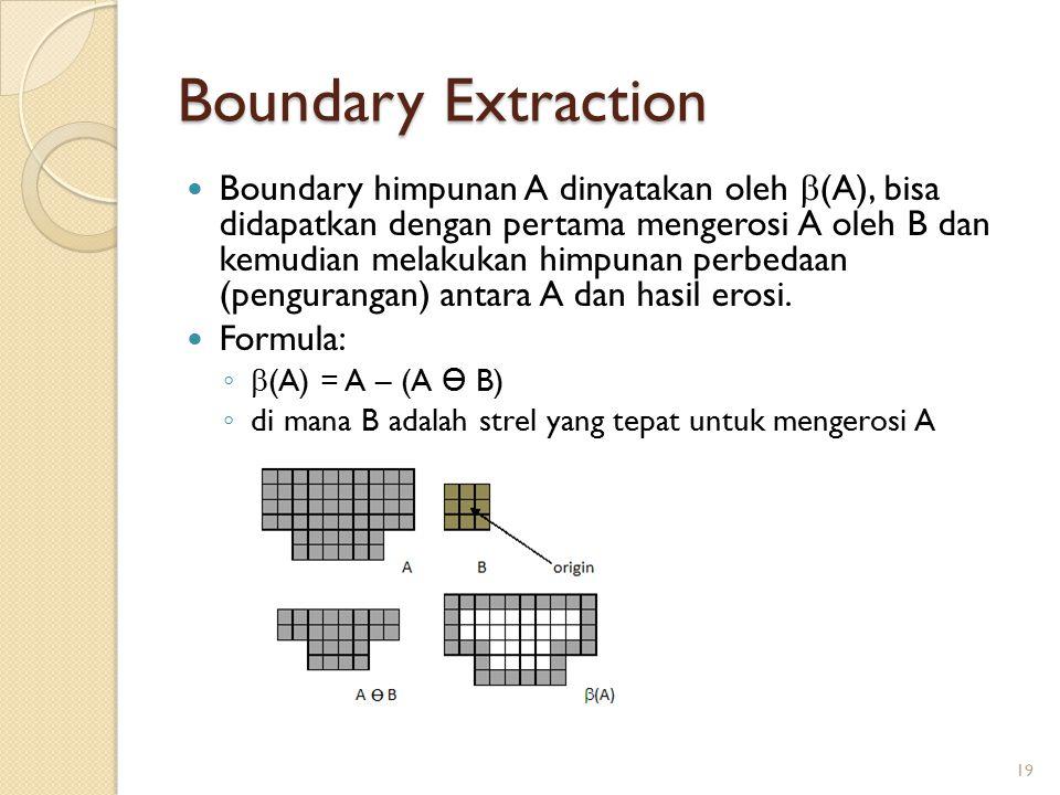 Boundary Extraction Boundary himpunan A dinyatakan oleh  (A), bisa didapatkan dengan pertama mengerosi A oleh B dan kemudian melakukan himpunan perbe