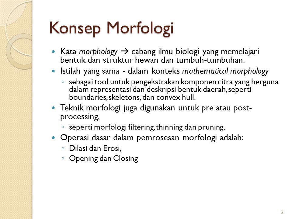 Konsep Morfologi Kata morphology  cabang ilmu biologi yang memelajari bentuk dan struktur hewan dan tumbuh-tumbuhan. Istilah yang sama - dalam kontek