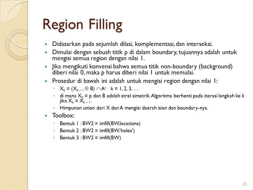 Region Filling Didasarkan pada sejumlah dilasi, komplementasi, dan interseksi. Dimulai dengan sebuah titik p di dalam boundary, tujuannya adalah untuk