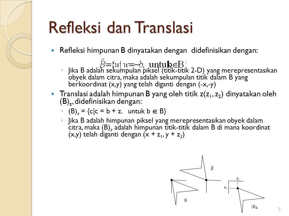Refleksi dan Translasi Refleksi himpunan B dinyatakan dengan didefinisikan dengan: ◦ Jika B adalah sekumpulan piksel (titik-titik 2-D) yang merepresen