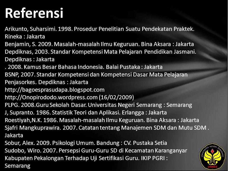 Referensi Arikunto, Suharsimi. 1998. Prosedur Penelitian Suatu Pendekatan Praktek.