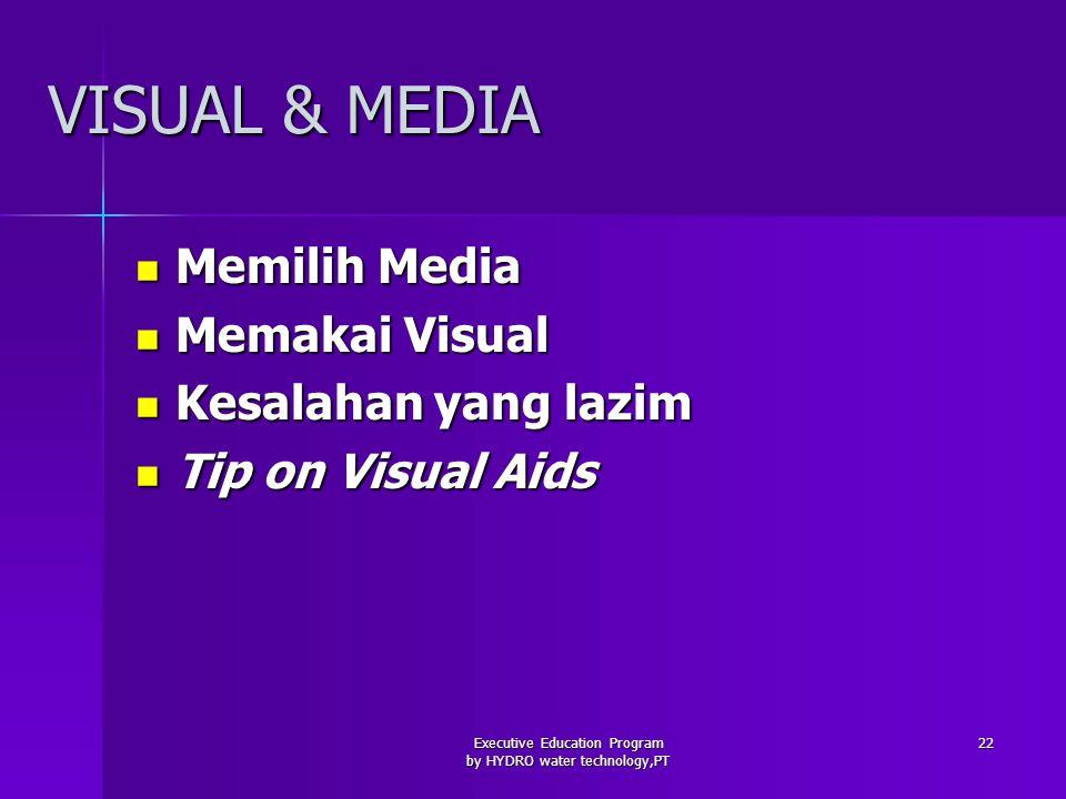 Executive Education Program by HYDRO water technology,PT 22 VISUAL & MEDIA Memilih Media Memilih Media Memakai Visual Memakai Visual Kesalahan yang lazim Kesalahan yang lazim Tip on Visual Aids Tip on Visual Aids