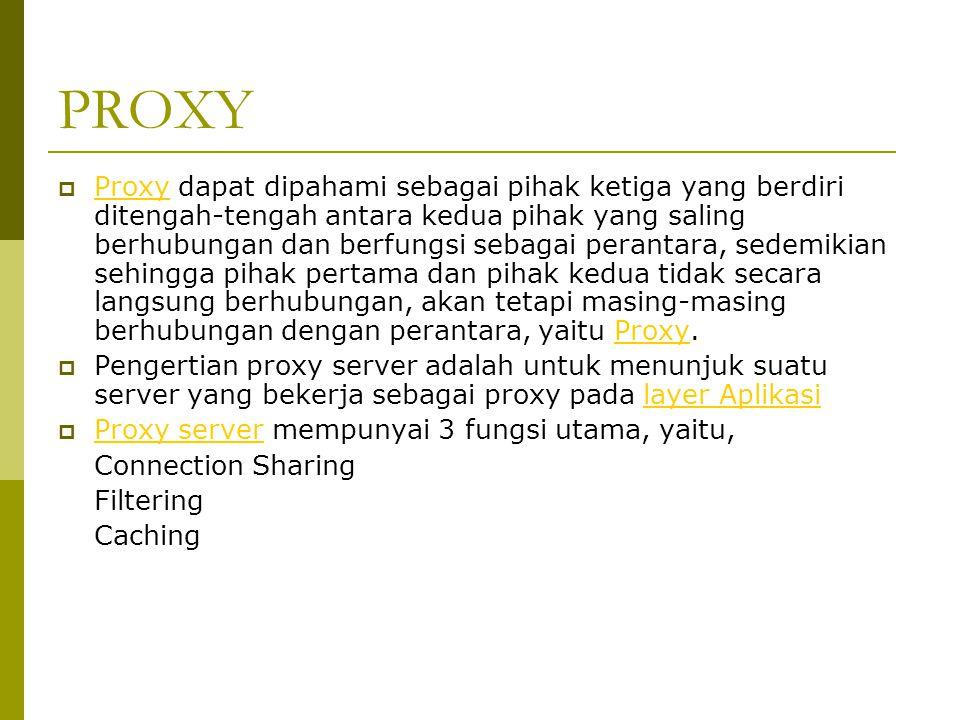 PROXY  Proxy dapat dipahami sebagai pihak ketiga yang berdiri ditengah-tengah antara kedua pihak yang saling berhubungan dan berfungsi sebagai perant