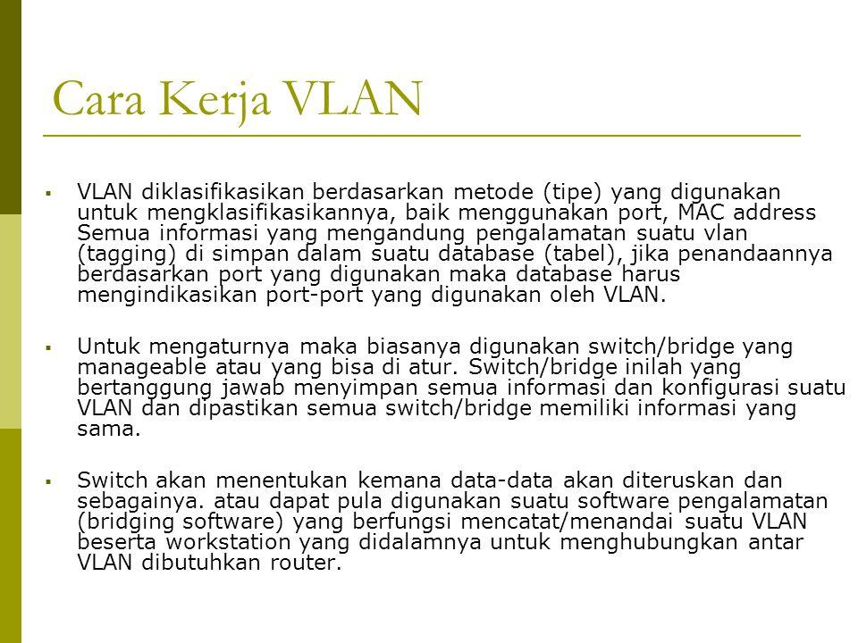 Cara Kerja VLAN  VLAN diklasifikasikan berdasarkan metode (tipe) yang digunakan untuk mengklasifikasikannya, baik menggunakan port, MAC address Semua