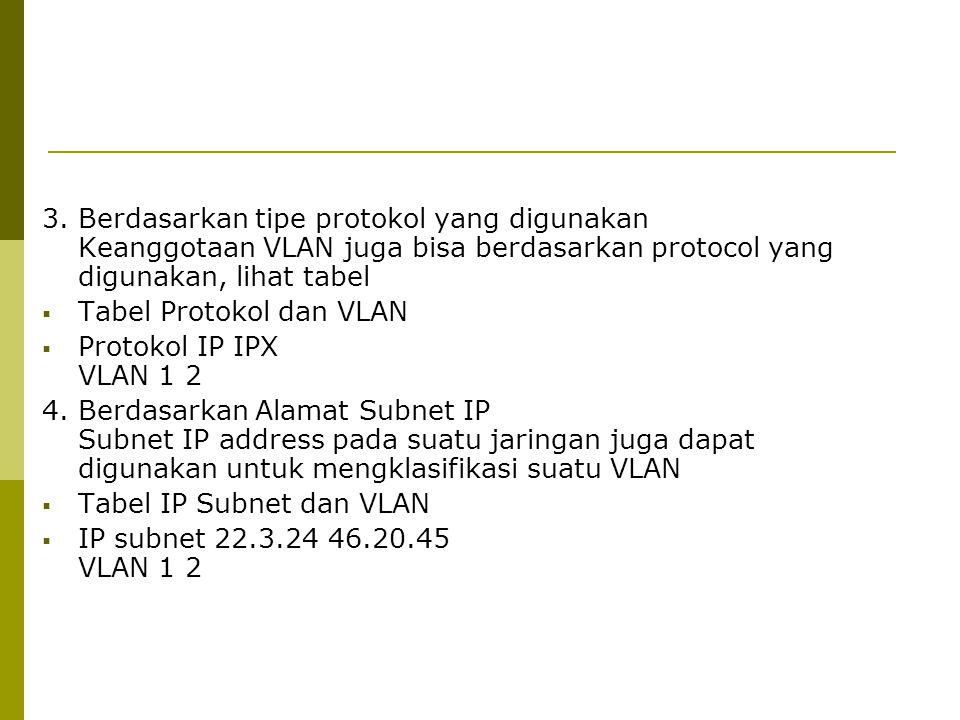 3. Berdasarkan tipe protokol yang digunakan Keanggotaan VLAN juga bisa berdasarkan protocol yang digunakan, lihat tabel  Tabel Protokol dan VLAN  Pr