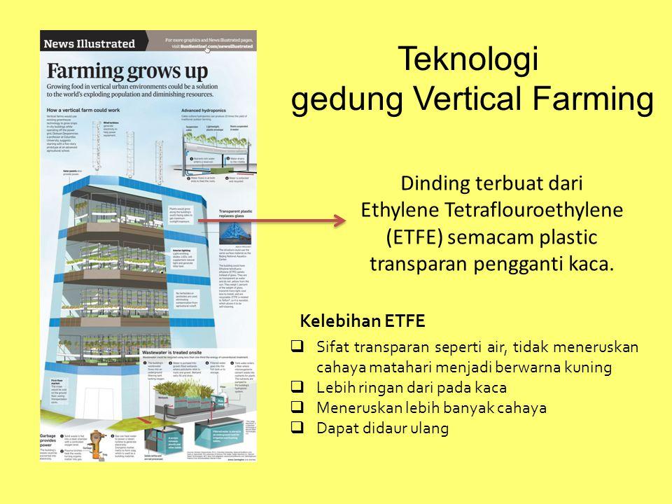 Teknologi gedung Vertical Farming Dinding terbuat dari Ethylene Tetraflouroethylene (ETFE) semacam plastic transparan pengganti kaca.  Sifat transpar