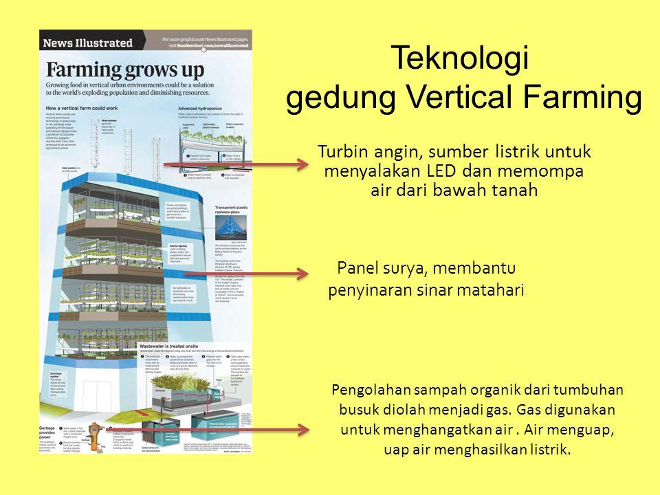 Teknologi gedung Vertical Farming Turbin angin, sumber listrik untuk menyalakan LED dan memompa air dari bawah tanah Panel surya, membantu penyinaran