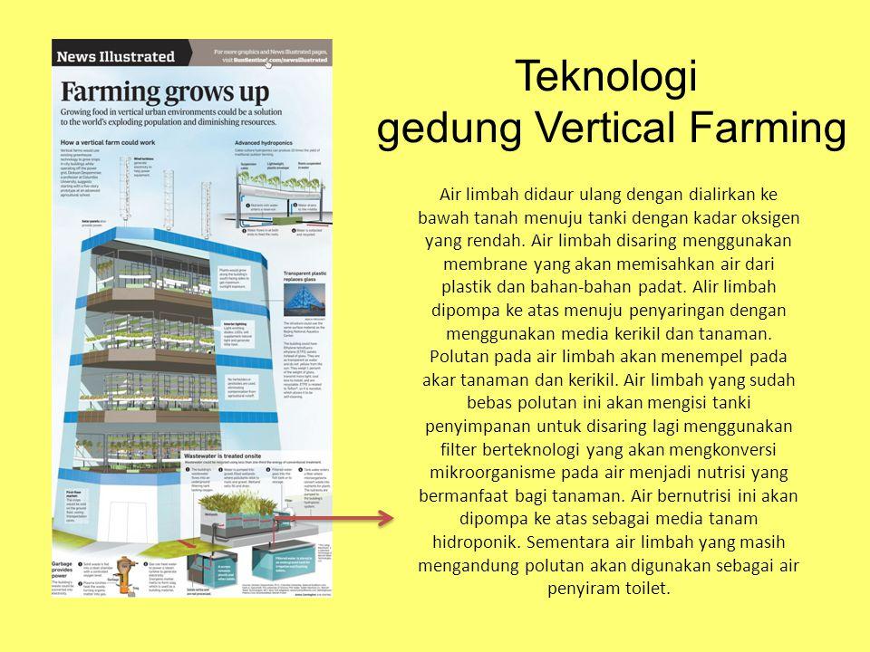Teknologi gedung Vertical Farming Air limbah didaur ulang dengan dialirkan ke bawah tanah menuju tanki dengan kadar oksigen yang rendah. Air limbah di