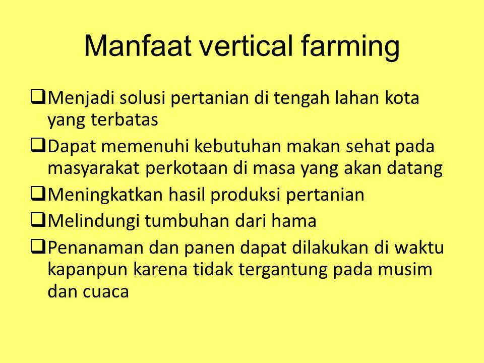 Manfaat vertical farming  Menjadi solusi pertanian di tengah lahan kota yang terbatas  Dapat memenuhi kebutuhan makan sehat pada masyarakat perkotaa
