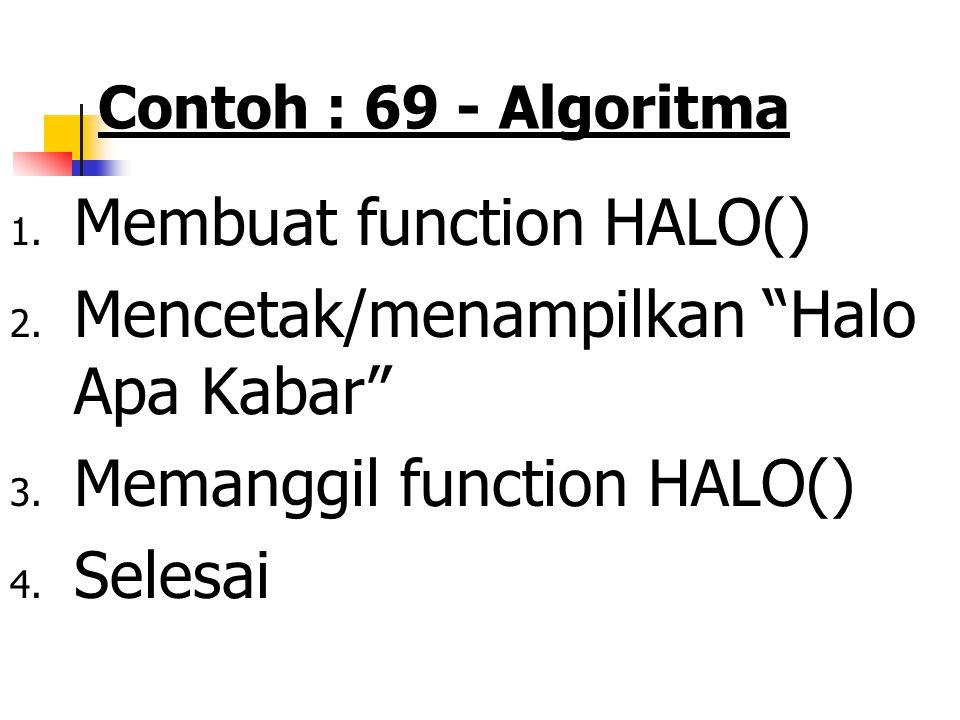 Fungsi …….. Contoh 69 PSEUDOCODE : Algoritma tanpa prototipe fungsi. Fungsi tanpa nilai balik dan tanpa parameter KAMUS/DEKLARASI VARIABEL FUNCTION -