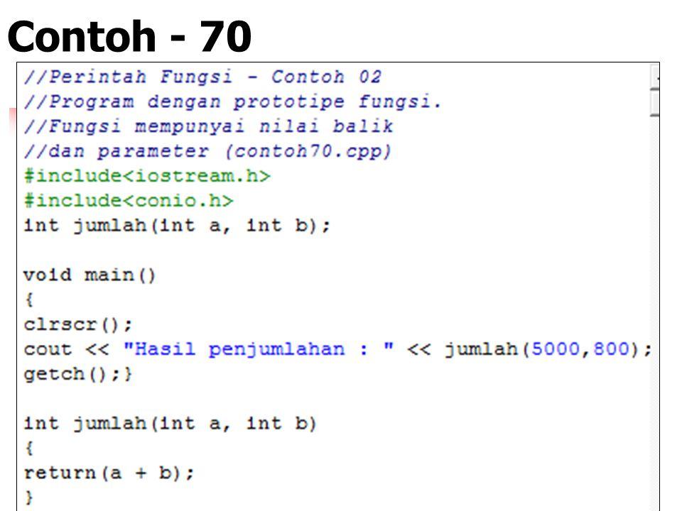 "Contoh : 69 - Algoritma 1. Membuat function HALO() 2. Mencetak/menampilkan ""Halo Apa Kabar"" 3. Memanggil function HALO() 4. Selesai"