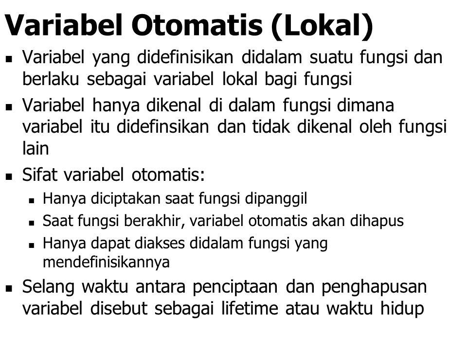 Lingkup Variabel Macam variabel berdasar lingkupnya: Variabel otomatis (lokal) Variabel eksternal (global) Variabel statis