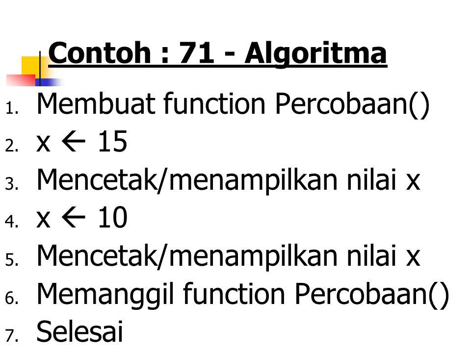 Fungsi …….. Contoh 71 PSEUDOCODE : Algoritma fungsi variabel otomatis / lokal KAMUS/DEKLARASI VARIABEL FUNCTION x : int FUNCTION Percobaan x = 15 prin