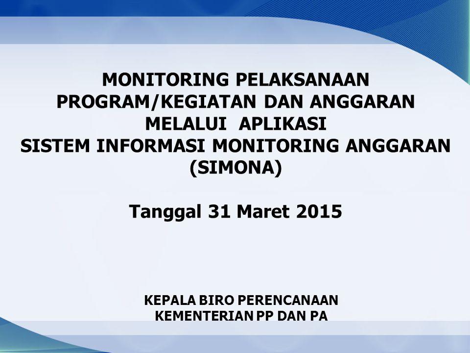 MONITORING PELAKSANAAN PROGRAM/KEGIATAN DAN ANGGARAN MELALUI APLIKASI SISTEM INFORMASI MONITORING ANGGARAN (SIMONA) Tanggal 31 Maret 2015 KEPALA BIRO