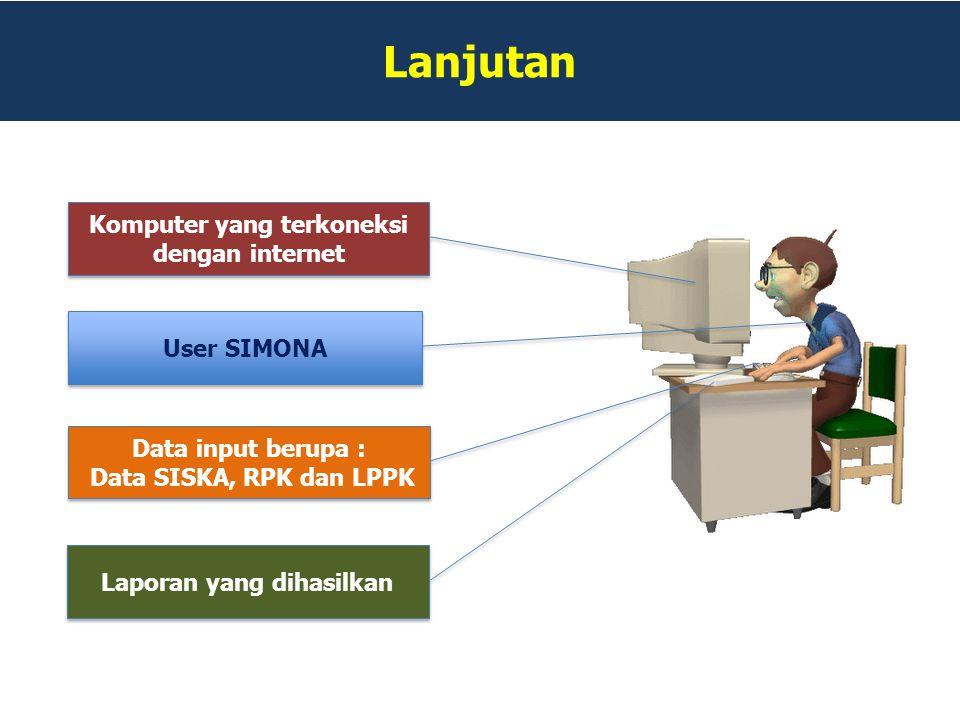 Lanjutan Komputer yang terkoneksi dengan internet Komputer yang terkoneksi dengan internet User SIMONA Data input berupa : Data SISKA, RPK dan LPPK Da