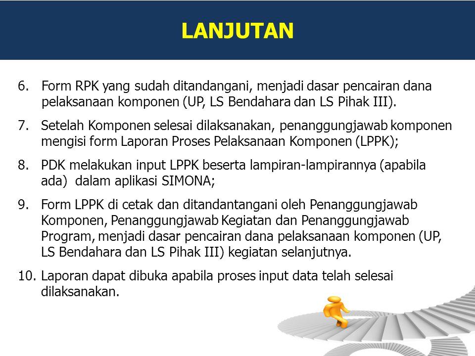 LANJUTAN 6.Form RPK yang sudah ditandangani, menjadi dasar pencairan dana pelaksanaan komponen (UP, LS Bendahara dan LS Pihak III). 7.Setelah Komponen