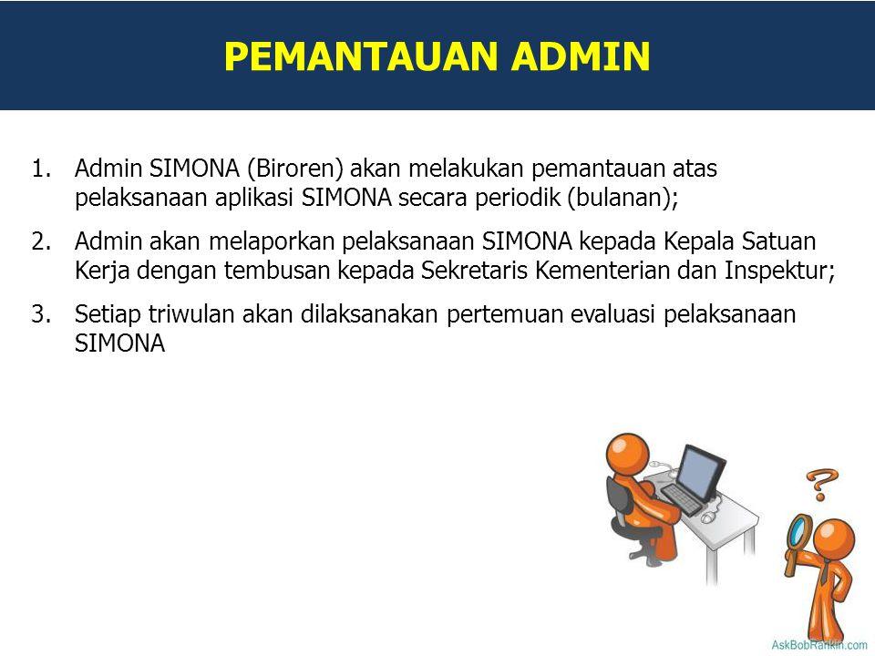 PEMANTAUAN ADMIN 1.Admin SIMONA (Biroren) akan melakukan pemantauan atas pelaksanaan aplikasi SIMONA secara periodik (bulanan); 2.Admin akan melaporka