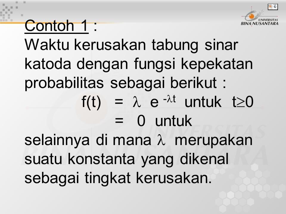 Contoh 1 : Waktu kerusakan tabung sinar katoda dengan fungsi kepekatan probabilitas sebagai berikut : f(t) = e - t untuk t  0 = 0 untuk selainnya di mana merupakan suatu konstanta yang dikenal sebagai tingkat kerusakan.