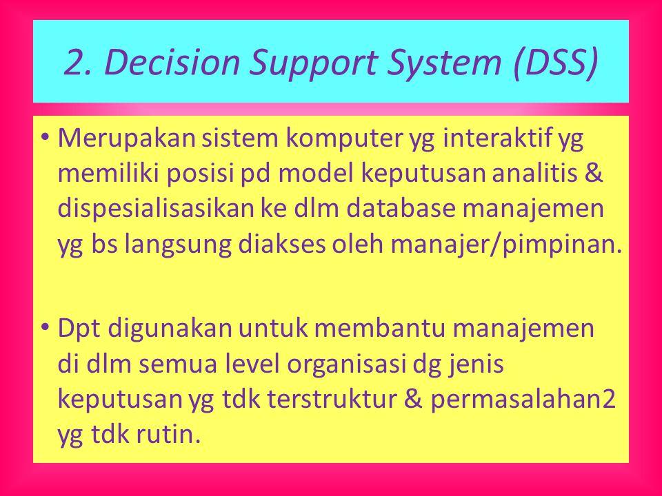 2. Decision Support System (DSS) Merupakan sistem komputer yg interaktif yg memiliki posisi pd model keputusan analitis & dispesialisasikan ke dlm dat