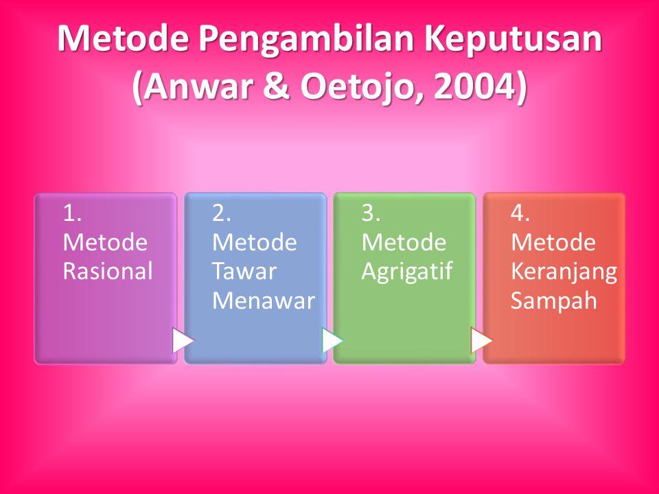 Metode Pengambilan Keputusan (Anwar & Oetojo, 2004) 1. Metode Rasional 2. Metode Tawar Menawar 3. Metode Agrigatif 4. Metode Keranjang Sampah