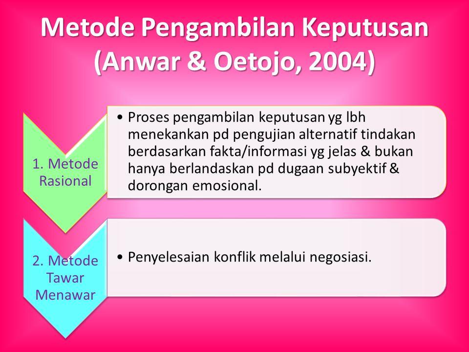 Metode Pengambilan Keputusan (Anwar & Oetojo, 2004) 1. Metode Rasional Proses pengambilan keputusan yg lbh menekankan pd pengujian alternatif tindakan