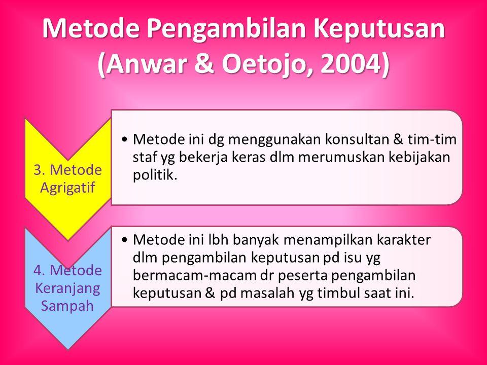 Metode Pengambilan Keputusan (Anwar & Oetojo, 2004) 3. Metode Agrigatif Metode ini dg menggunakan konsultan & tim-tim staf yg bekerja keras dlm merumu