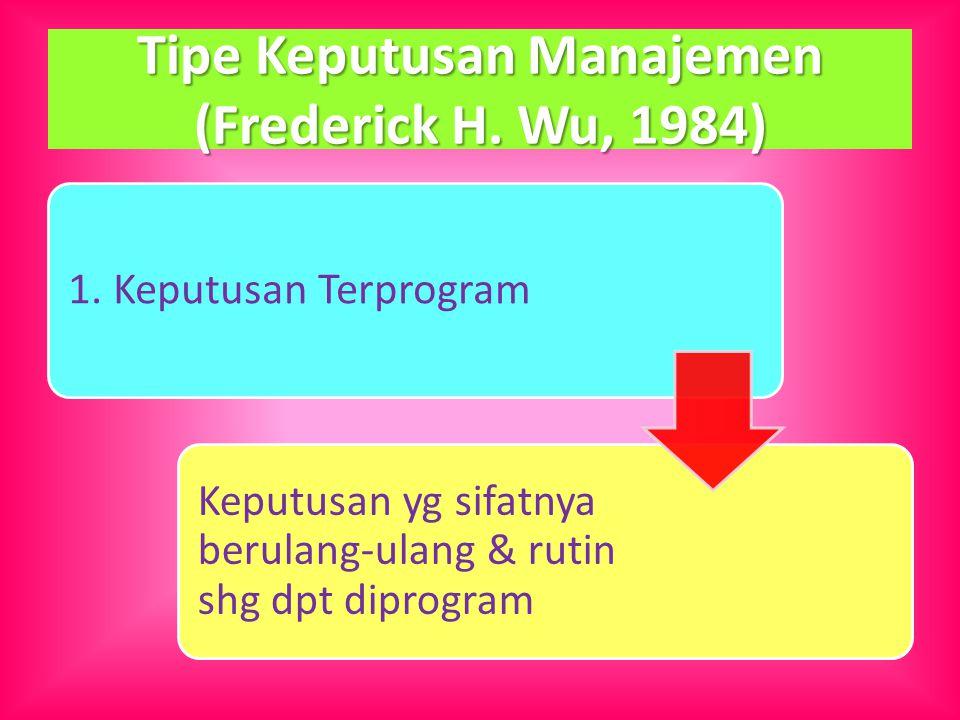 Tipe Keputusan Manajemen (Frederick H. Wu, 1984) 1. Keputusan Terprogram Keputusan yg sifatnya berulang-ulang & rutin shg dpt diprogram