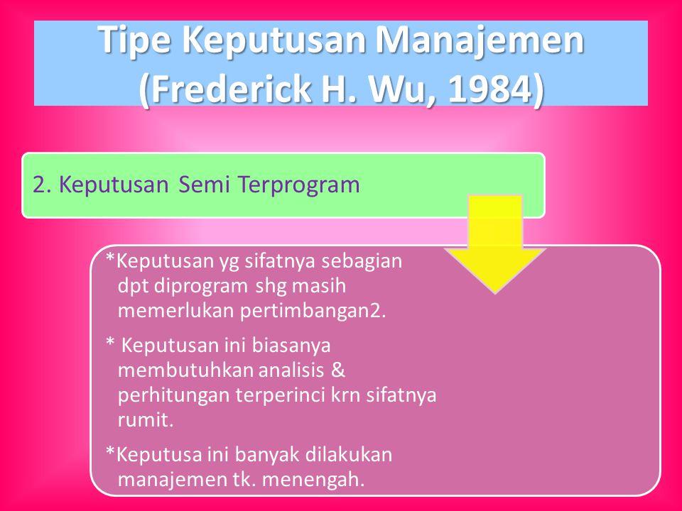 Tipe Keputusan Manajemen (Frederick H. Wu, 1984) 2. Keputusan Semi Terprogram *Keputusan yg sifatnya sebagian dpt diprogram shg masih memerlukan perti