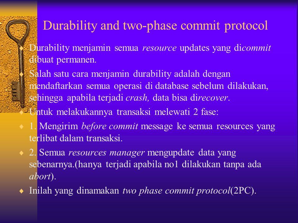 Distributed Transaction  Distributed transaction merupakan transaksi yang dilakukan oleh berbagai partisipan transaksi.  Flat transaction yang palin