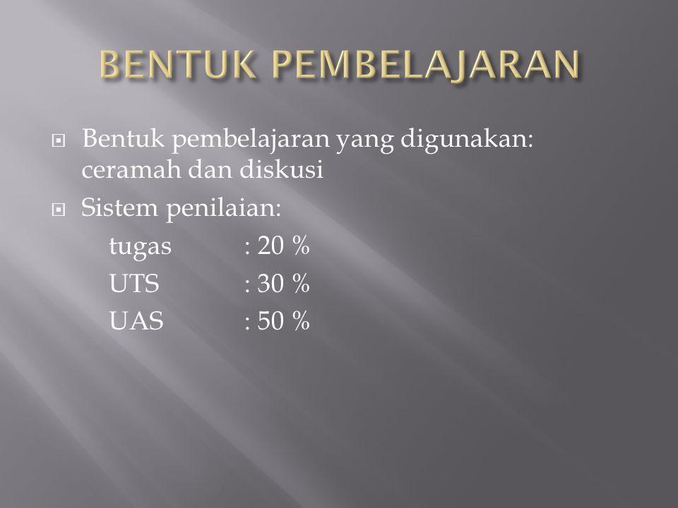 Bentuk pembelajaran yang digunakan: ceramah dan diskusi  Sistem penilaian: tugas : 20 % UTS: 30 % UAS: 50 %