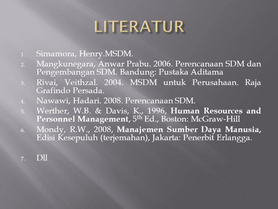 1.Simamora, Henry.MSDM. 2. Mangkunegara, Anwar Prabu.