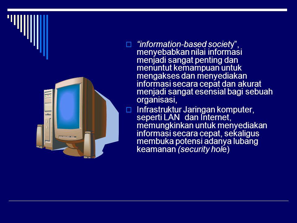  information-based society , menyebabkan nilai informasi menjadi sangat penting dan menuntut kemampuan untuk mengakses dan menyediakan informasi secara cepat dan akurat menjadi sangat esensial bagi sebuah organisasi,  Infrastruktur Jaringan komputer, seperti LAN dan Internet, memungkinkan untuk menyediakan informasi secara cepat, sekaligus membuka potensi adanya lubang keamanan (security hole)