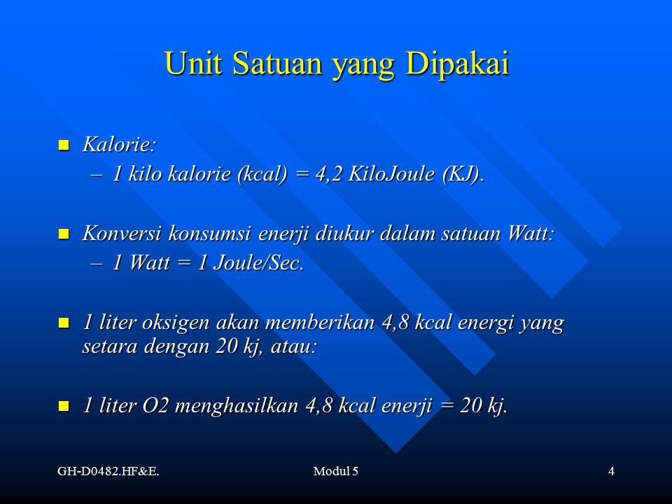 GH-D0482.HF&E.Modul 54 Kalorie: Kalorie: –1 kilo kalorie (kcal) = 4,2 KiloJoule (KJ). Konversi konsumsi enerji diukur dalam satuan Watt: Konversi kons