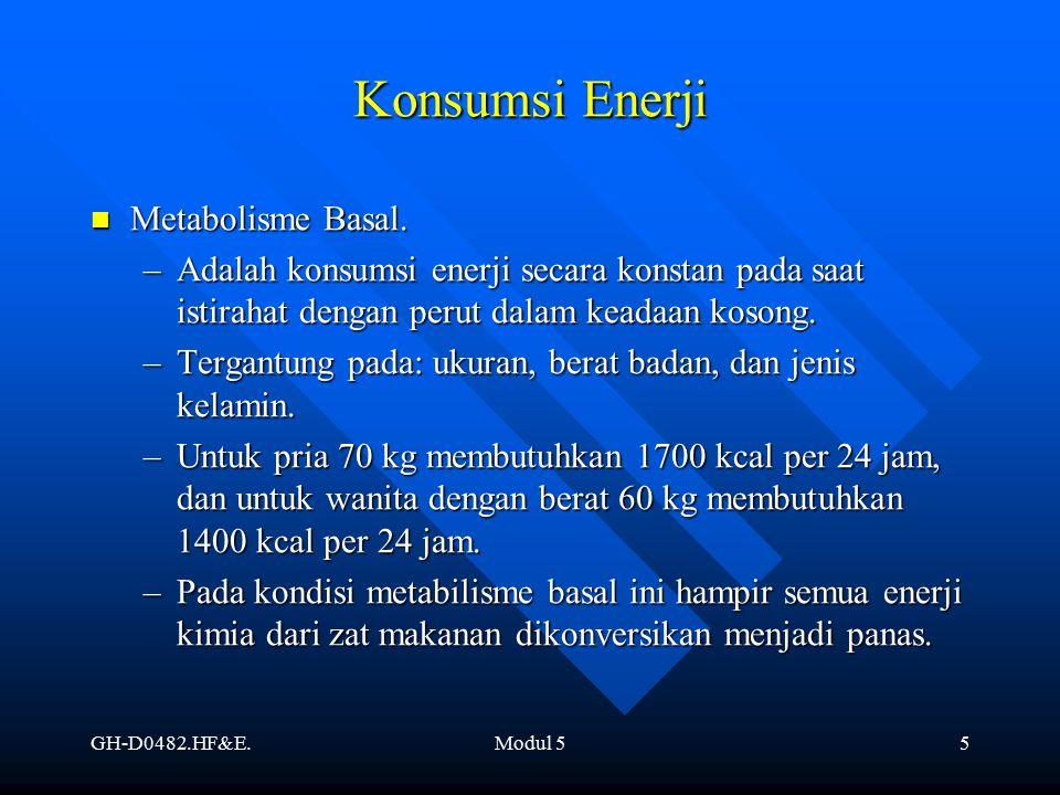 GH-D0482.HF&E.Modul 55 Konsumsi Enerji Metabolisme Basal. Metabolisme Basal. –Adalah konsumsi enerji secara konstan pada saat istirahat dengan perut d
